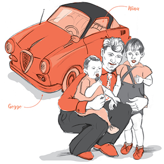 Scetch from my dad, my siblings and our Goggomobil