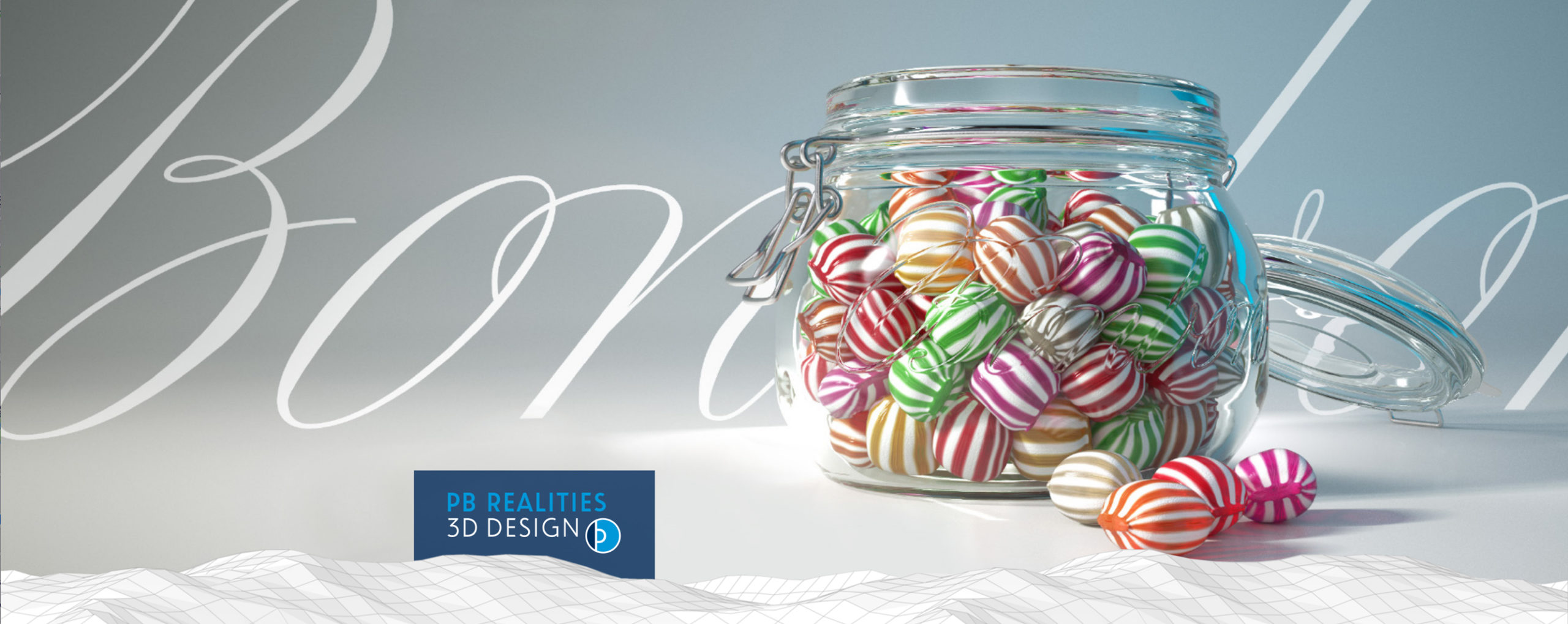 3D Design of a glass filled with sweets